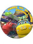 7.5 Personalised Chuggington Icing or Wafer Cake Top Topper New